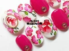 ★MIKAKO★ビビットピンク花柄3D金魚ネイル・ショート(337)