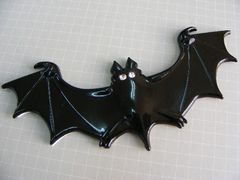 ● NEW! BAT MAN コウモリ エンブレム BLACKメタル製●