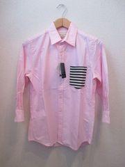 ナノユニバース ニットポケット 7分袖シャツ/メンズ/S/ピンク☆新品