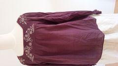 shuca シュカ グローバルワーク ボタニカル刺繍プルオーバーブラウス パープル Lサイズ