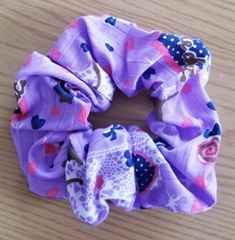 紫色猫柄シュシュ★ハンドメイド