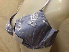 C85単品 サックスブルー(お花柄の刺繍ブラ)  C-5