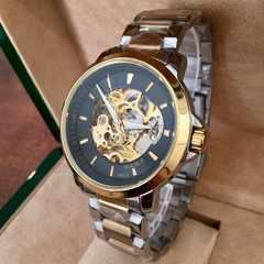 スケルトン100m防水 自動巻きメンズ腕時計 ブラックコンビ