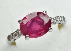 K18 大きな ルビー 3.520ct ダイヤモンドリング 15号 指輪