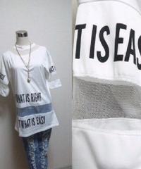 ■新品★白×黒英字首&腕&裾部分シースルーセクカワTワンピ即決送無