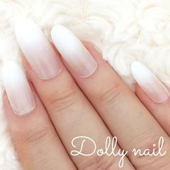 みぢょ!オーバル美爪シンプル純白ホワイトグラデーション上品オフィスネイル