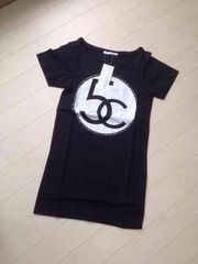 神戸レタス◆パロディロゴロング丈Tシャツ◆黒◆M
