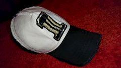 スパンコール付きダメージ風 CAP 黒×白