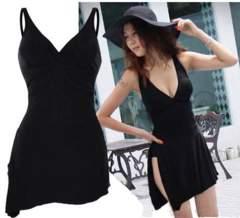 新品【7035】(3L)CR(大きいサイズ)黒裾斜めワンピース水着
