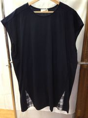 3Lサイズ フレンチスリーブ 裾切り替え ワンピース ネイビー