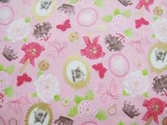 綿麻ピンク地姫系ヴィクトリアン王冠猫50×110