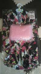 浴衣3点セット 3〜4歳用 新品 黒地に花柄