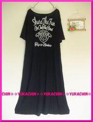 春新作◆大きいサイズ3Lブラック◆胸元&背中英字◆ロングワンピ