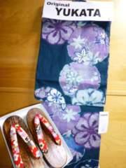 浴衣のみグリーン着物柄レディース花柄フリー綿和柄新品