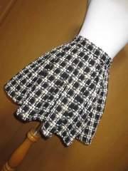 新品 GRL ツィード サーキュラふんわりスカート チェック 黒系 L