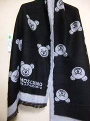 送込み◆新品モスキーノ★ウール大判ストール黒X薄灰