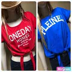 英字ロゴ*前結びシャツ 半袖*赤&青*2枚セット