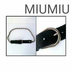 正規 MIUMIU レザー スウェード シルバー チェーン ブラック