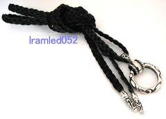 スクロールリングネックレス 3つ編み革紐チップ