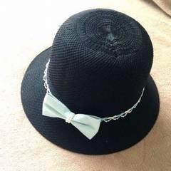ブラック 黒 レース デニム リボン ポーラー ハット 帽子