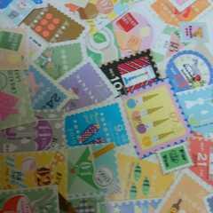 ♪切手風カットシール50枚まとめ売り�J♪雑貨コラージュ・ラッピングなどに♪