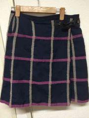 MICHEL KLEIN巻きスカート紺×ピンク×ベージュ 100円スタート