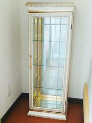 アンティーク キャビネット 白ゴールド飾り棚インテリア飾りだな