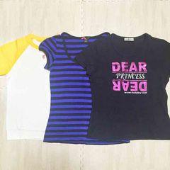 【used】丸首半袖Tシャツ3枚セット/M/Forever21/クレージュほか