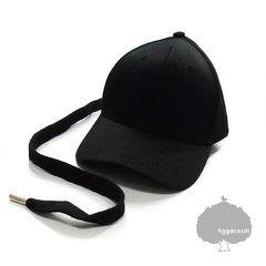YGG★新品 ロングストラップ キャップ 黒紐黒 帽子