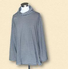大きいサイズボーダータートルネック長袖Tシャツ6L