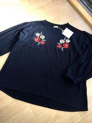 新品大きい5L6Lnoannu可愛い花柄刺繍ニット ネイビー