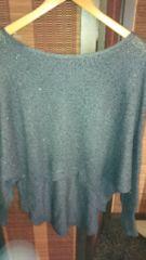 秋物美品グレーラメスパンコールドルマン袖裾変形ニットワンピ