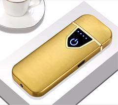 【新品】USB充電 防風電子ライター 金色 タッチセンサー
