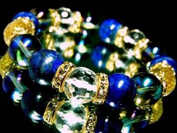 ☆〜ラピスラズリ§ブルーオーラ§128面カット水晶12ミリ金ロンデル数珠
