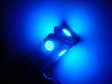 激照!T10型SMD5連LEDウェッジバルブ ブルー