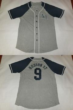 【AEROPOSTALE】NY HUDSON ST.刺繍ベースボール型半袖シャツUS M