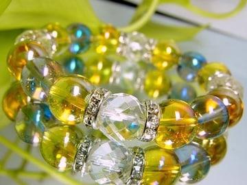 ゴールデンオーラ§64面カット水晶§ブルーオーラ12ミリ銀ロンデル数珠