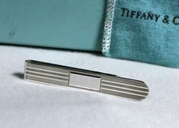 正規美レア TIFFANYティファニー 鏡面×ストライプネクタイピン SV925 ヘアラインタイピン