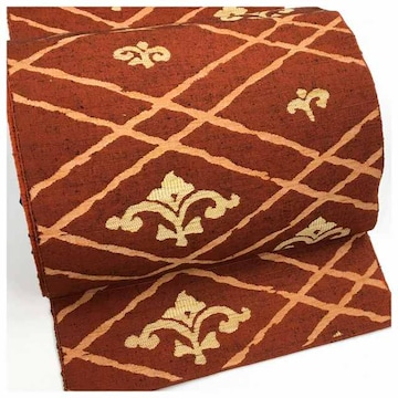 美品 紬 織り模様 八寸名古屋帯 正絹 逸品 名古屋帯(茶系)