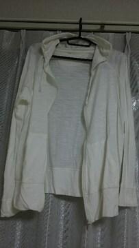 シンプル 可愛い 白 パーカー 羽織りにも ◎ ホワイト