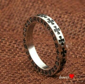 送料無料19号クロムシルバークロス十字架フープリング指輪