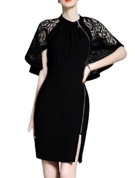 レースケープ サイドジッパー付きドレス(2XL寸・黒)