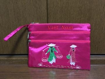 新品未使用 ベトナムお土産ファスナーポーチ小物入れピンク