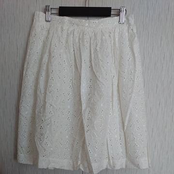 OPAQUE.CLIP☆新品☆春物☆コットンレース膝丈スカート☆L