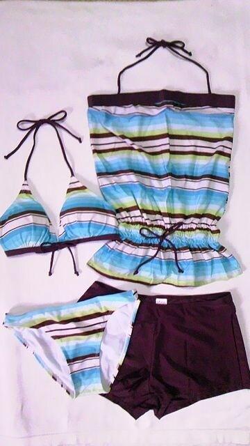 マルチボーダー柄ホルター三角ビキニ水着タンキニトップス&ショートパンツ4点セット〓ブルー XL  < 女性ファッションの