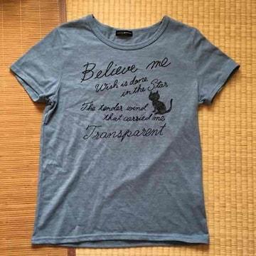 ロゴ&黒猫キャラクタープリントTシャツ。ライトブルーLサイズ