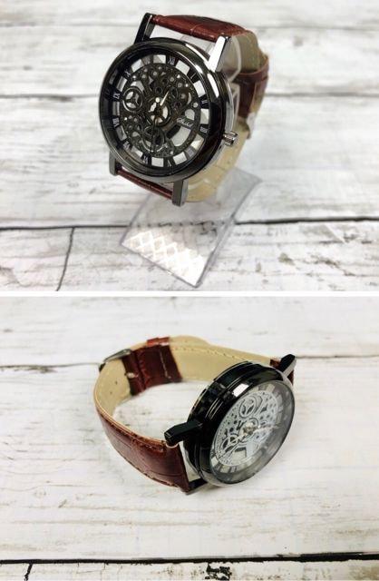 腕時計 ギリシャ文字 アナログ メンズ クォーツ 時計 ブラウン < 男性アクセサリー/時計の