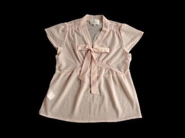 組曲 ピンク リボン シースルー 半袖 ブラウス 2