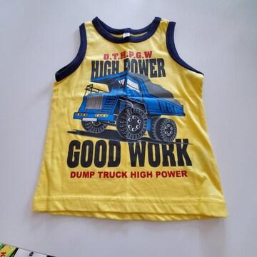 黄色に紺のふちトラック柄の袖無しTシャツ100