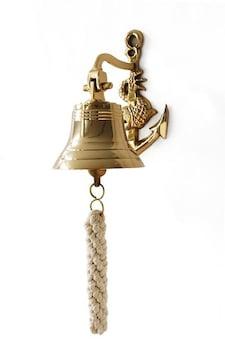 ゴールド 壁掛けベル★玄関/ドア/チャイム/イカリ/碇/マリン/海/船/真鍮製